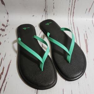 Sanuk green flipflos sandals woman 9